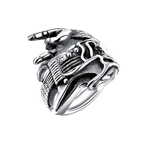 Oakky Men's Stainless Steel Silver Black Retro Gothic Biker Punk Hip Hop Instrument Guitar Gesture Ring Size 11 (Mens Guitar Ring)