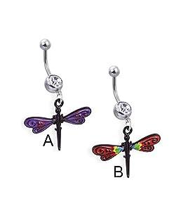 Piercing Nombril avec pendentif noir motif libellule