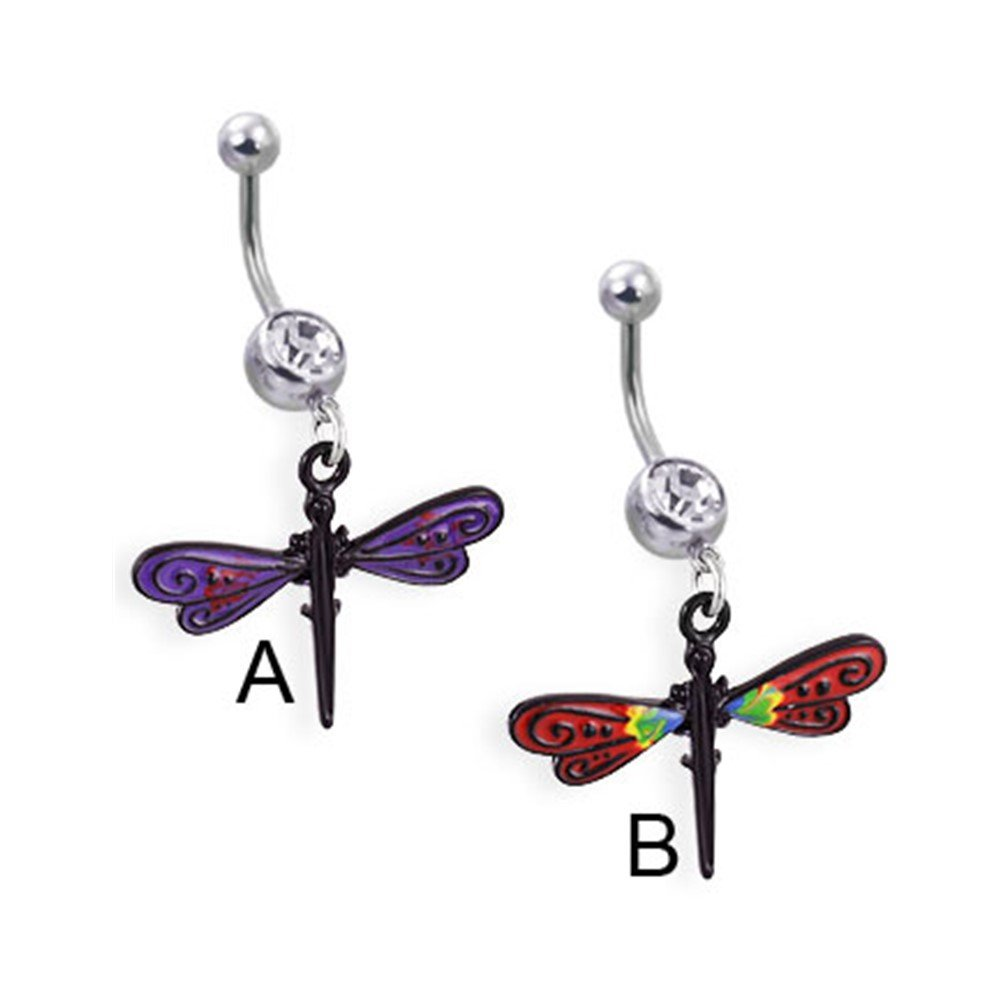 Belly Button Ring Navel Dragonfly Dangle Body Jewelry 14 Gauge Jewelry