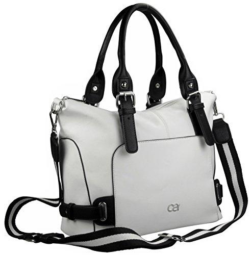 Borsa bianco e nero (manico nero-bianco) - Veggie in apparenza grana, circa 24,5x28,5x15cm, con tracolla tela nero-bianco nel look Coco.