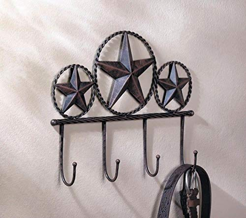Western Brown Iron Texas Star Wall Hooks Plaque for Coats, Hats, - Star Texas Irons