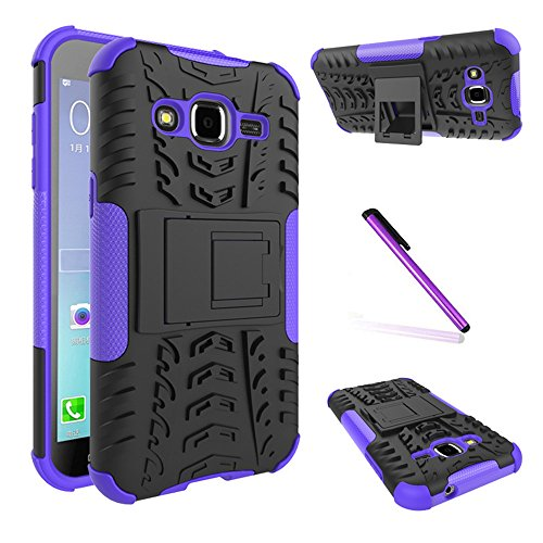 Galaxy J2 Case,Galaxy J200 Case, LEECOCO Heavy Duty Tough Armor Box Dual Layer Hybrid Hard PC and Soft TPU Shockproof Protective Defender Case for Samsung Galaxy J2 2015 Heavy Purple