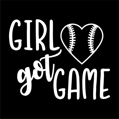 (Girl Got Game Softball Vinyl Decal Sticker | Cars Trucks Vans SUVs Windows Walls Cups Laptops | White | 5.5 Inch | KCD2388)