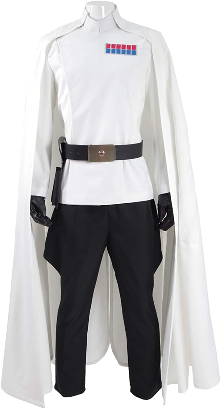 Mens Battle Uniform Cosplay White Cloak Full Set Hallowee Costume - US Size