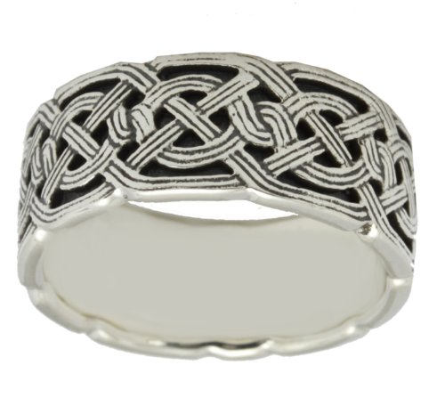 US Jewels And Gems Men's Sterling Silver Irish Celtic Ring Band (Size 9) by US Jewels And Gems