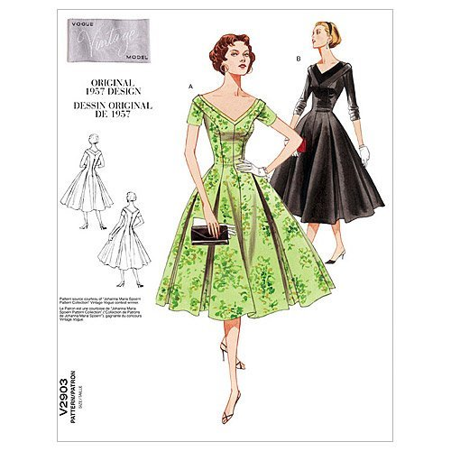 1950s Sewing Patterns | Dresses, Skirts, Tops, Mens 1957 Vogue Patterns V2903 Misses/Misses Petite Dress Size A (6-8-10) $9.95 AT vintagedancer.com