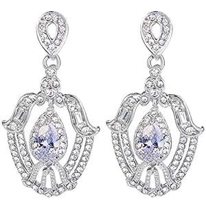 EVER FAITH Women's Austrian Crystal Cubic Zirconia Tear Drop Chandelier Dangle Earrings Clear Silver-Tone