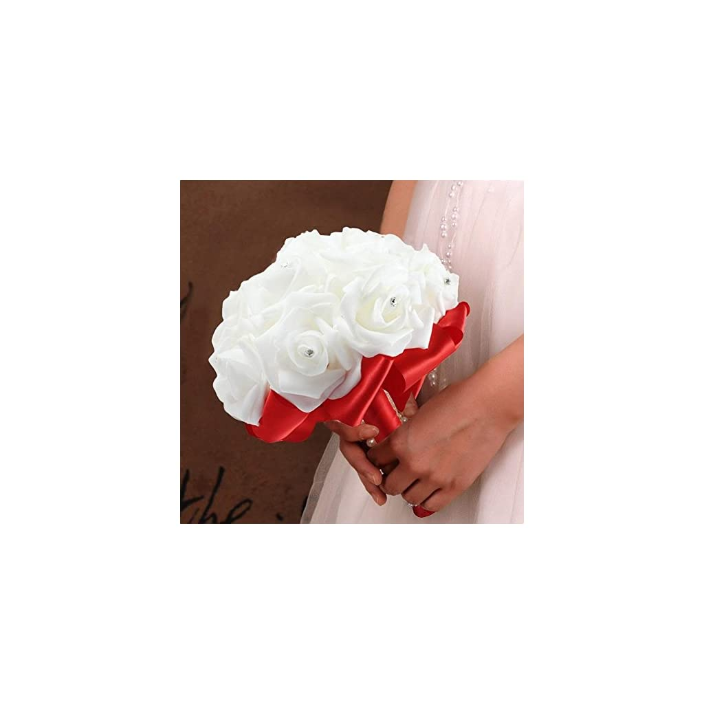 Wedding Bouquets Roses Bridal Bridesmaid Wedding Hand Bouquet Artificial Fake Flowers with Crystal Pearl Silk Artificial Rose Flowers for Wedding Party and Church (18cm24cm, Red)