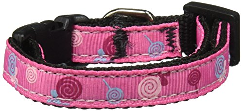 Mirage Pet Products Lollipops Nylon Ribbon Collar for Pets, Small, Bright Pink