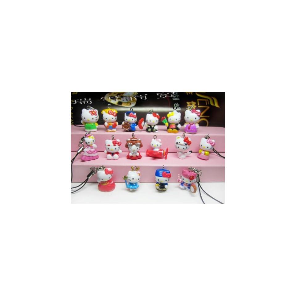 Lot of 10 Pcs Mixed Hello Kitty Cell Phone Pendant Charm Figure