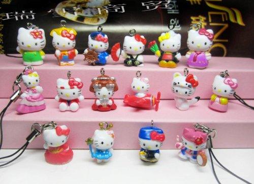 Lot of 10 Pcs Mixed Hello Kitty Cell Phone Pendant Charm Figure from gogoshiny