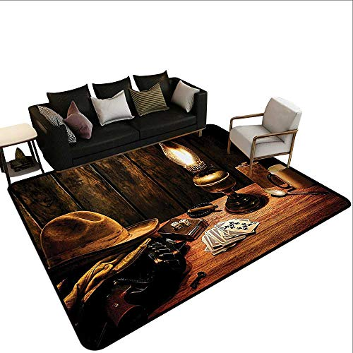 (Bedroom Rug Western Decor Mystic Night in Hotel Room Dallas with Lantern Nightstand Table and Poker Card Rustic Home Decor4'11 x6'10 Brown)