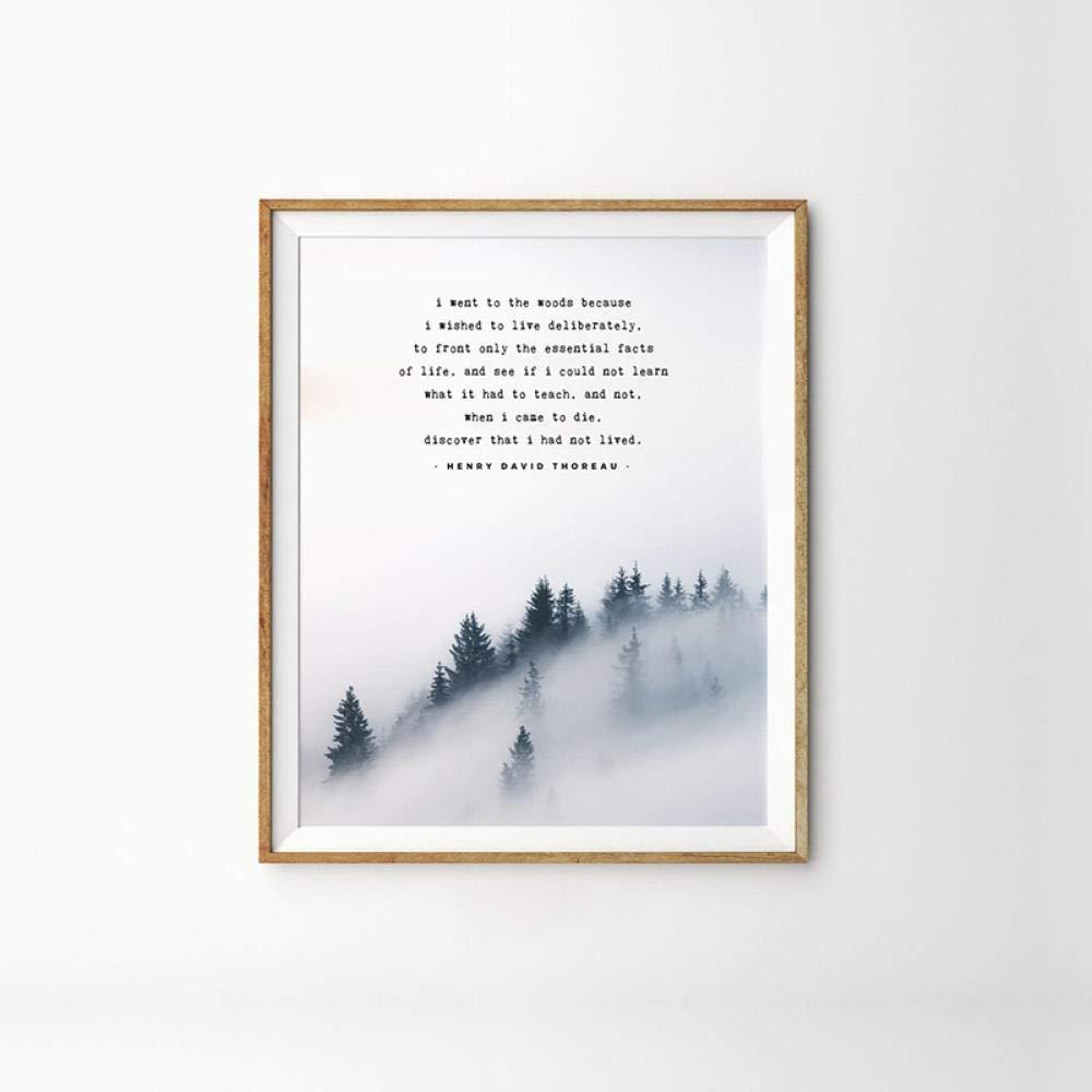 Cartel n/órdico Bosque Monta/ña Paisaje Arte Lienzo Pintura Henry David Thoreau Poema Im/ágenes de pared para sala de estar Decoraci/ón del hogar 60X80cm sin marco