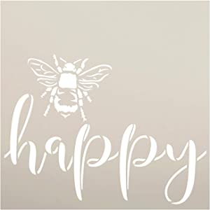 Bee Happy Stencil by StudioR12 | DIY Farmhouse Bumblebee Home & Classroom Decor | Spring Script Inspirational Word Art | Craft & Paint Wood Signs | Reusable Mylar Template | Select Size (9 x 9 inch)