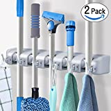 Pack of 2 Mop and Broom Holder Wall Mount Storage with 6 Foldable Hooks, Heavy Duty Garage & Garden Tools Hanger Rack, Commercial Kitchen Closet Wall Organizer by DealBang (18 Months Warranty)