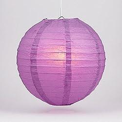 "Quasimoon PaperLanternStore.com 14"" Violet/Orchid Round Paper Lantern, Even Ribbing, Hanging Decoration"