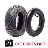 110/50-6.5 110-50-6.5 Tire and Inner Tube, Rear Tyre for 40cc 47cc 49cc Mini Pocket Dirt Pit Bike Scooters, Black Gloves