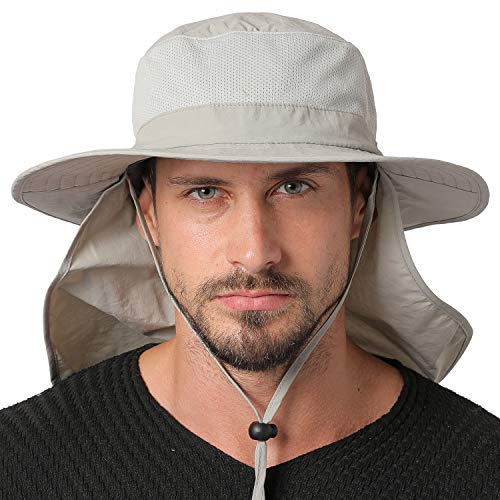 (Jormatt Unisex UV Protection Outdoor Wide Brim Sun Hat UPF 50+ with Flap Neck Cover Foldable Fishing Safari Cap, Light Gray)