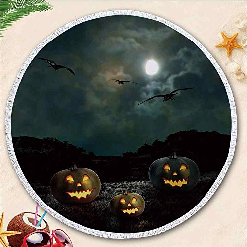 YOLIYANA Halloween New Developed Thick Round Beach Towel Round Blanket 100% Microfiber Terry Cloth Quality with Tassels 70.87 (Everything Halloween Nj)