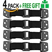 Metal Anti Tip Furniture Kit, TV Safety Straps for Flat Screens, 4 Pack Black, Furniture Anchors for Baby Proofing, Eartquake Straps - Wall TV Mounting Straps, Child Proof Television Antitip Straps
