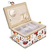 Fabric Covered Sewing Basket,3 Colors Handmade Wood Storage Basket Fabric Crafts Sewing Kit Storage Box with Handle and Removable Tray for Sewing Accessories(2)