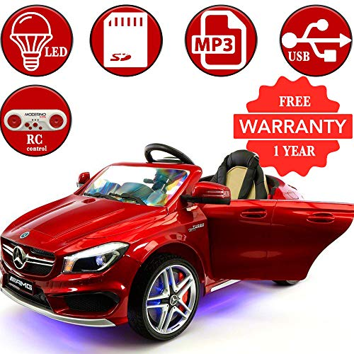 2018 LICENSED MERCEDES CLA45 KIDS ELECTRIC RIDE-ON CAR TOY, LEATHER, MP3 USB PLAYER, 12V BATTERY LED WHEELS, LED BODY KIT, REMOVABLE BABY TRAY TABLE WITH PARENTAL REMOTE | CHERRY RED METALLIC