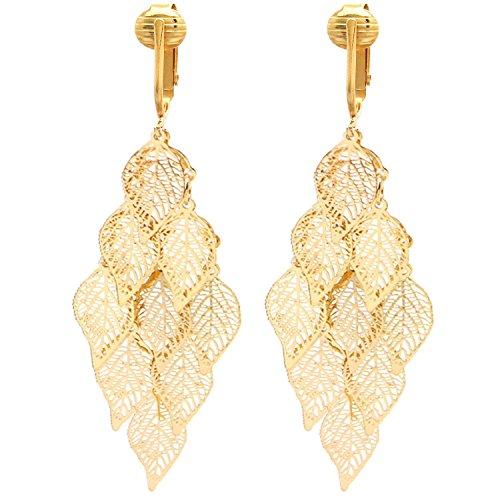 Beautiful Dangle Clip On Earrings for Women, Girls, Bohemian Drop Butterfly, Dragonfly, Leaves, Flowers (Gold Leaves)