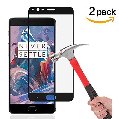 OnePlus 3 / OnePlus 3T Screen Protectors, Asstar [2 Pack] Tempered Glass Full coverage 9H Hardness 2.5D Tempered Glass Bubble-Free Scratch-Proof for Oneplus THREE & OnePlus 3T Version