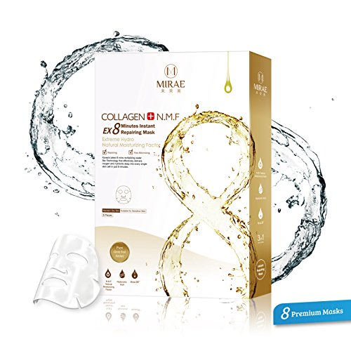 Aloe Gold Natural (Mirae 8 Minutes Deep Repair Mask - Premium Essence Facial Mask Sheets For Moisturizing, Firming and Anti-Aging with Gold Foil, Collagen, Aloe Vera From Natural Extracts)