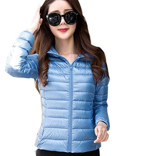 Ghope Mädchen Damen Jacke Daunenjacken leicht Klassik Stehkragen Winter Kälteschutz Daunen Jacket mit Kapuze Outdoor Steppjacke 14 Süßigkeiten Farben
