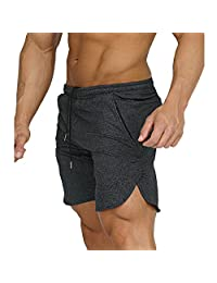 Men's Gym Workout Running Shorts Fitted Training Jogger Pant With Zipper Pockets