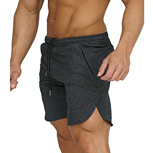 - Men's Gym Workout Shorts Running Short Pants Fitted Training Bodybuilding Jogger with Zipper Pockets 3 Colors (US X-Large/Tag XXXL(Waist: 35.5