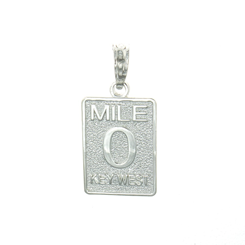 925 Sterling Silver Travel Charm Pendant, Small Mile Marker 0 Key West by Million Charms (Image #1)