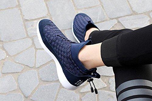 SHIXR Sport Schuhe Paar Modelle gewebt Casual Schuhe Männer und Frauen mit dem gleichen Satz von Schuhen Laufschuhe schwarz blau grau , deep blue , 35