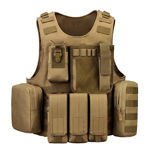 Coyote Lightweight Vest - UNISTRENGH Tactical Vest Lightweight Adjustable Airsoft Paintball Vest for CS Filed Combat Military Swat Assault and Shooting Hunting Outdoor Activity (Coyote Brown)