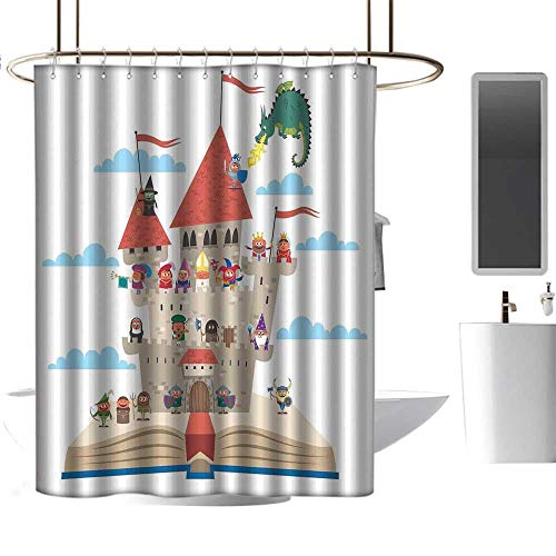 Home Decor Shower Curtain by Kids Queen Size,Fairy Tale Story Book Castle King Queen Princess Dragon Witch Knight Wizard Vikings Theme Print,Washable,Durable ,Brick Dobby Pattern for Bathroom 47