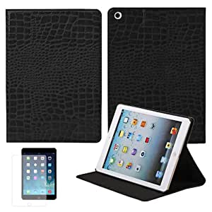Slick-Blue Folding Support Crocodile Pattern Leather Fabric Case Cover For Apple Ipad Air With Screen Protector - Black