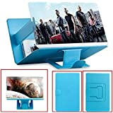 8.2 inch screen magnifier, PU leather foldable stand holder is suitable for any smartphone, suitable for iPhone 4/5/6/7/7S Plus and all smart phones, 3D smart phone movie amplifier, anti-fatigue prote