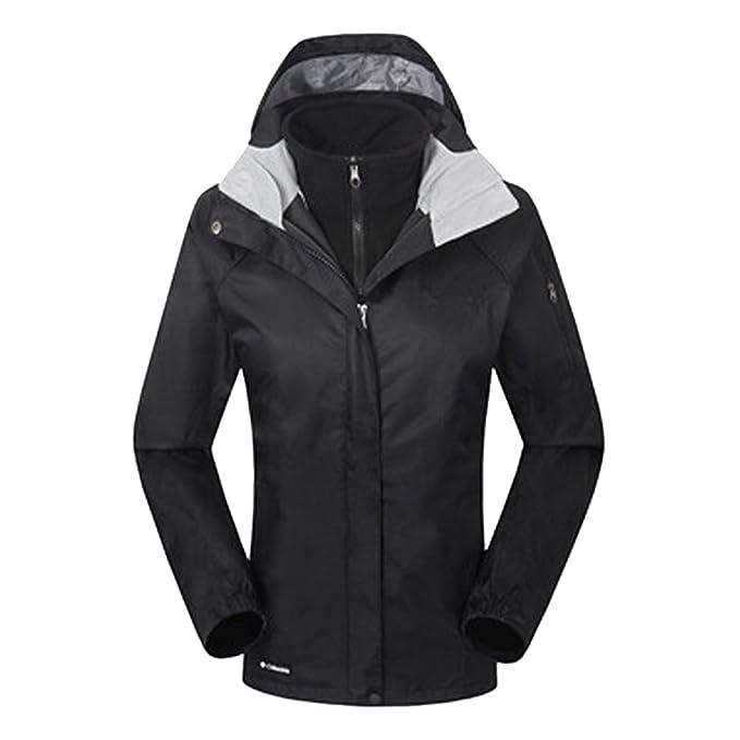 ZKOO Chaqueta de Esquí Mujeres 2 Capas Fleece Softshell Impermeable Resistente al Viento Chaqueta con Capucha Al Aire Libre Senderismo Jacket: Amazon.es: ...