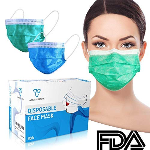 (Face Mask with Earloops – 100 Pack – Disposable – Hypoallergenic – Protect Yourself from Dust, Germs and Pollen – Ideal for Medical, Surgical, Catering and Construction Workers – Blue)