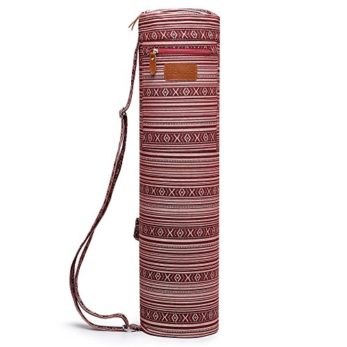ELENTURE Full-Zip Exercise Yoga Mat Carry Bag with Multi-Functional Storage Pockets (Red and Pink)