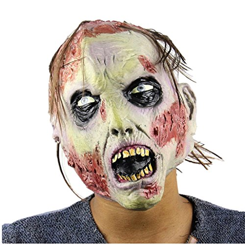 Halloween Mask! Elevin(TM)2016 New Adult Costume Masquerade Face Party Cosplay Carnival Fancy Mask Disgusting Face Zombies Mask Terror Witch Head Mask (Latex+Wig-A)