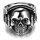 Bishilin Stainless Steel Vintage Silver Black Music Skull Head Hiphop Rock Rings for Women Men Size 12