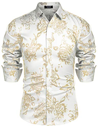 COOFANDY Men Rose Silver Slim Fit Shirts Shiny Novelty Nightclub Button Shirt