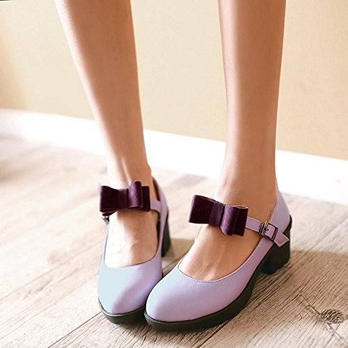 COOLCEPT Women Fashion Ankle Strap Court Shoes Closed Toe Pumps Middle Block Heels Shoes With Bow Purple ZMYgqzKv