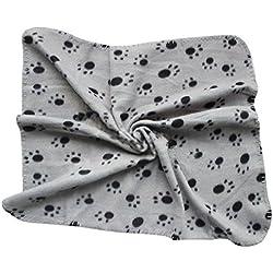 Pet Small Medium Large Paw Print Pet Cat Dog Fleece Soft Warmer Blanket Beds Mat (gray)
