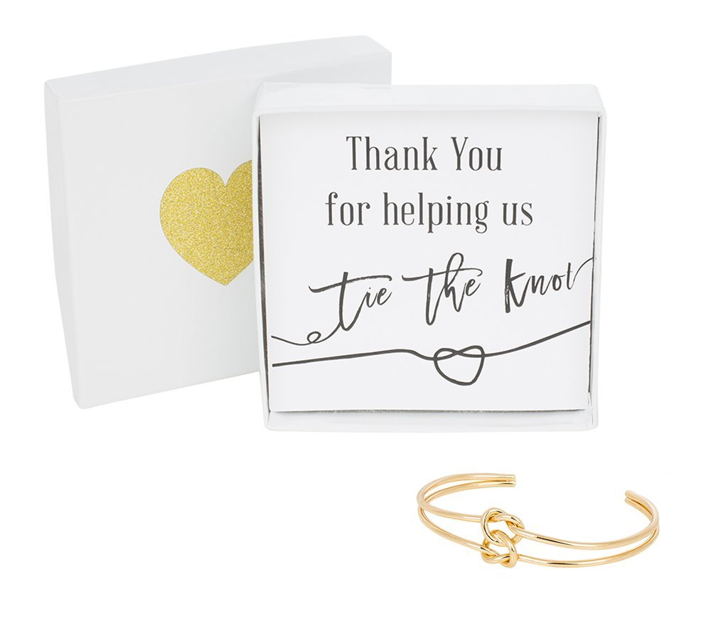 Bridesmaid Gifts - Tie The Knot Thank You Gift Cuff Bracelet with Gift Box, Double Love Knot Cuff Bracelet, Wedding Party Gift Sets (Black Note Gold Bracelet)