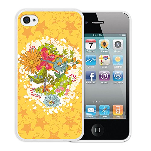 """WoowCase Hülle Case für { iPhone 4 iPhone 4S } Handy Cover Schutzhülle Blumen Satz """"Happy birthday To You """""""