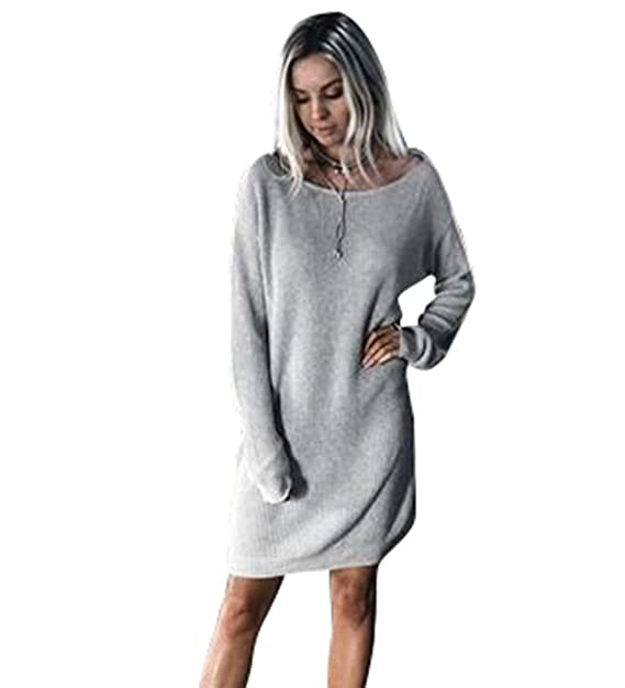 online retailer d60fa 55a41 NiSeng Vestito in Maglia Donna Casual Vestiti Eleganti Maglioni Il Collo  Rotondo Maniche Lunghe Maglina Abito