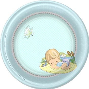 Precious Moments Baby Shower Dinner Plates   Baby Boy Baby Shower Plates    8 Count